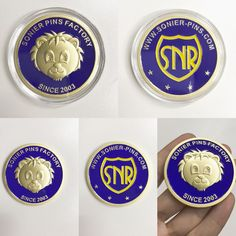 Sonier-pins factory since 2003. 3D logo with reflex blue C enamel. Key point is the fabulous three-dimensional technique.Gold plated challenge coins customized. Eva@add-gifts.com