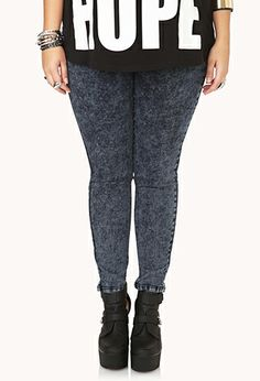 Cool Acid Wash Skinny Jeans | FOREVER21 PLUS - 2000074185 #ForeverHoliday