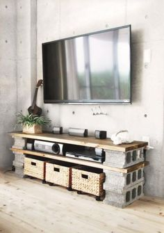minimalistische wohnzimmer mit betonwand und diy tv-Möbel aus holzplatten und b… minimalist living room with concrete wall and diy tv furniture made from wood panels and concrete blocks Tv Furniture, Furniture Making, Concrete Furniture, Furniture Ideas, Cinder Block Furniture, Business Furniture, Rustic Furniture, Furniture Design, Outdoor Furniture