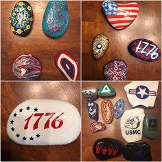 Flag Painting, Fourth Of July, Rocks, Stone, Batu, Stones