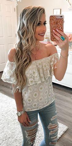 #spring #outfits  White Lace Off Shoulder Top & Destroyed Denim