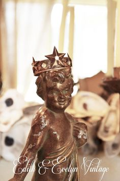 Vintage Cherub Statue with Crown Spelter Ornate by edithandevelyn on Etsy