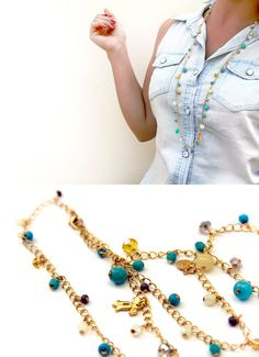 Long gold plated chain necklace with green beads by SigalDesign