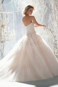 Übergröße Tüll A Linie Prinzessin Herz-Ausschnitt Satin bodenlanges Brautkleider