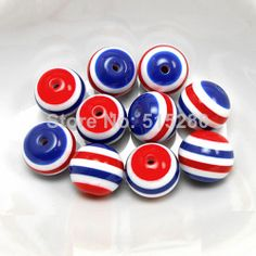 20MM 100pcs/Lot Blue Red striped resin beads for chunky necklace and bracelet wholesale