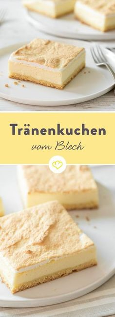 Käsekuchen mit Baiser aka Tränenkuchen vom Blech Today there is a very special cheesecake - a cheesecake with meringue. A tear cake, a gold droplet cake or just the best that your baking sheet has to Baking Recipes, Cake Recipes, Dessert Recipes, Cheesecake, Shortcrust Pastry, Sweet Cakes, Food Cakes, No Bake Desserts, Tray Bakes