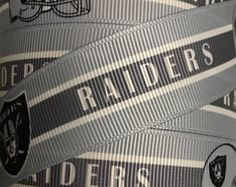 1 Inch Grosgrain Ribbon - Printed Grosgrain Ribbon - Gray Oakland Raiders Ribbon  - Ribbon By The Yard - Ribbon Supply -  Football Ribbon
