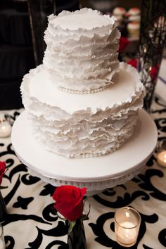 Love the ruffles of icing on this wedding cake! (Photo by Michelle Lindsay, Cakes by Cakes by Carolyn)