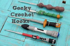 Geeky crochet hooks! Elder Wand from Harry Potter, Sonic Screwdriver from Doctor Who, Lightsaber from Star Wars, Lothlorien Leaf and the One Ring from LotR, King Arthur's Excalibur from Merlin/Arthurian Legend.