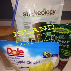 This morning I tried a fun, new way to drink my daily Shakeology--Island Breeze! I mixed one scoop of chocolate vegan Shakeology with one cup of water (or you could use your favorite milk of choice), one cup of frozen pineapple chunks (fresh would be amazing too) and two teaspoons of shredded coconut. I kinda felt like I should be sitting on a beach somewhere drinking it!!