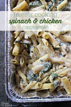 This spinach and chicken alfredo recipe is a great one! It's even better because it makes a batch for tonight and a batch for the freezer.  Try it tonight!