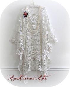 Boho White Shawl Gypsy Shabby Lace Crochet by auntcarriesattic, $235.00