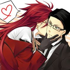 Black Butler ~~~ Grell kisses Will who does NOT fight back. Hmm....
