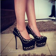 #Sexy #Black Suede #Rivets Decoration Thic #Platform High #Heel #Shoes from Picsity.com
