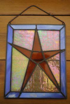 Handmade Folk Art STAR Iridescent Stained Glass Window Hanging Ornament Suncatcher