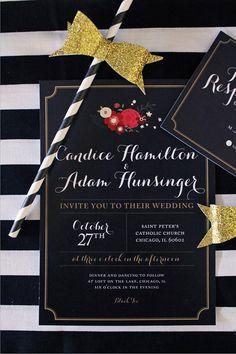 Modern Black and Floral Wedding Invitations