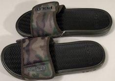 43bae4a34 NWT POLO RALPH LAUREN Mens GREEN CAMOUFLAGE HOOK LOOP CLOSURE FLIPFLOPS  Size 11  fashion