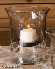 "Hammered Glass Cylinder Pillar Candle Holder with Candle Pan, 6"" by Carson Home"