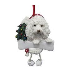Dangling Leg Maltipoo Dog Christmas Ornament