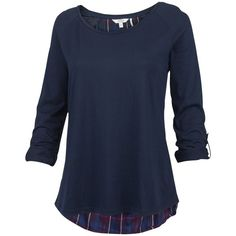 Fat Face Dundee Check Tee, Navy ($53) ❤ liked on Polyvore featuring tops, t-shirts, long tee, drape top, polish t shirts, rayon tops and elbow sleeve tops