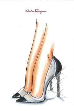 A sketch of Salvatore Ferragamo's recreation of Cinderella's slipper.  [Photo by Courtesy]