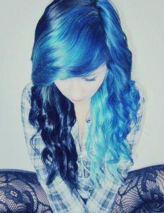 two tone blue hair.