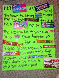 finals week candy card! The motivation to finish strong! And the sugar to do it!