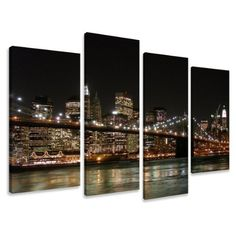 """Picture - art on canvas New York length 51"""" height 31,5"""", four-part parts model no. XXL 6008 Pictures completely framed on large frame. Art print Images realised as wall picture on real wooden framework. A canvas picture is much less expensive than an oil painting poster or placard by Visario, http://www.amazon.co.uk/dp/B0046M6C5K/ref=cm_sw_r_pi_dp_lzTFrb139B44M"""