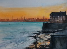Evening Light on the Mersey at Brunswick with Birkenhead in the distance.