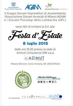 Care amiche del Club, Clubielle è stato sponsor del prestigioso evento organizzato da Gruppo Giovani Imprenditori, AGAM - Associazione Giovani Avvocati Milano e GPL - Giovani Psicologi Lombardia tenutosi a Milano.