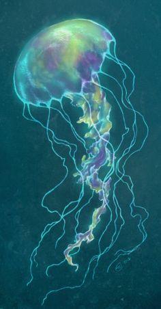 Jellyfish Art Inspirational photos and artwork of the ocean's wondrous jellyfish. Jellyfish Drawing, Jellyfish Painting, Jellyfish Tattoo, Watercolor Jellyfish, Jellyfish Aquarium, Jellyfish Light, Colorful Jellyfish, Moon Painting, Colorful Fish