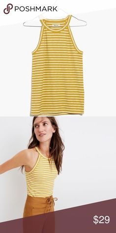 """Madewell Time Off Tank Madewell slim fitting ribbed tank with a high neckline and cutaway armholes. Made of cotton/modal rayon/spandex. Machine wash. Approx. 23-24"""" long. Runs a little small. So cute on! Madewell Tops Tank Tops"""