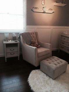 This Newco glider is the perfect touch in this elegant nursery! #nursery #glider #modern