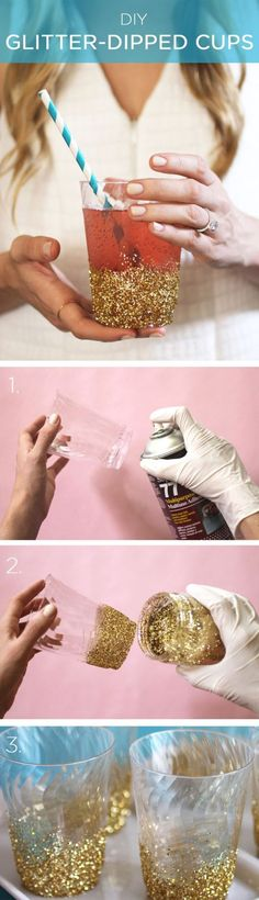 Love these glitter cups!! Perfect for a hen party or wedding! 30 Fun and Cheap DIY Party Decorations