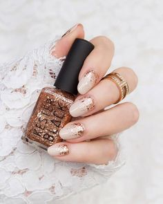 What's your ideal wedding manicure - nail art or plain nails? 👰💅✨ wearing Kester Black Dasher from Gold Manicure, Wedding Manicure, Rose Gold Nails, Bridal Nails, Glitter Nails, Bridal Makeup, Gold Nail Designs, Plain Nails, Red Nail Polish