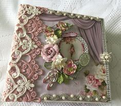 """Mini Album~  custom order and design team project for Tresors de Luxe. Album is made using Scrapberry's """"Juliet"""" paper line. More info on my blog : cherylspapercreations.com. Please contact me at capecodcheryl@yahoo.com for custom orders."""