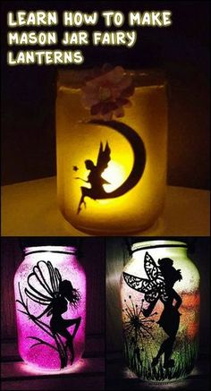 These mason jar fairy lanterns would be great as a night light by the bed side. - These mason jar fairy lanterns would be great as a night light by the bed side. Mason Jar Projects, Mason Jar Crafts, Mason Jar Diy, Diy Projects, Diy Design, Design Ideas, Fairy Lanterns, Creation Deco, Mason Jar Lighting