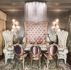 Beverly Hills Condo - Traditional - Dining Room - los angeles - by Charles Neal Interiors Elegant Dining Room, Dining Room Design, Dining Rooms, Dining Set, Fine Dining, Dining Table, Luxury Homes, Decoration, Sweet Home
