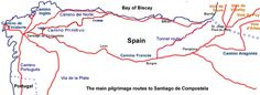 Map of the Camino de Santiago in northern Spain, my parents will be doing Camino Frances in June! One day I'll do it with them
