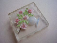 Vintage Art Deco Clear Lucite Hand Carved Brooch Pin Roses | eBay
