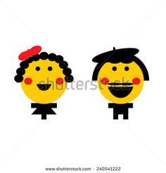 Vector, cartoon man and woman smiley characters