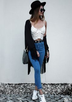 To find out about the Blue High Waist Slim Denim Pant at SHEIN, part of our latest Pants ready to shop online today! Hipster Fashion, Grunge Fashion, Love Fashion, Hipster Style, Fall Outfits, Summer Outfits, Cute Outfits, Fashion Outfits, Fashion Trends