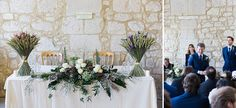 Stylish Elegant Isle of Wight Winter Wedding with a Yolan Cris Dress Silver Winter Wedding, Elegant Winter Wedding, Winter Wedding Flowers, Rustic Wedding Flowers, Floral Wedding, Wedding Bouquets, Top Table Ideas, Wedding Top Table, Sweetheart Table Decor