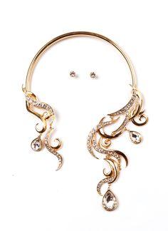 Glitzy Filigree Collar Necklace Set GOLD - GoJane.com