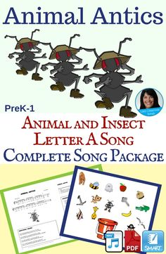 Students will have a great time singing and dramatizing army ants, apes, alligators, angelfish and albatross as they move freely around the room while singing this song! Song Length: 1:18 This package includes a PDF with sheet music and lesson ideas, a recording with vocals, an accompaniment track, a SMART Notebook file and a demonstration video. School Resources, Learning Resources, Teaching Ideas, Alphabet Songs, Abc Songs, Kids Songs With Actions, Reading Response Journals, Singing Games, Action Songs