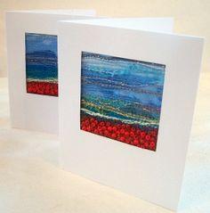 Embroidered poppy landscape  Handmade card  Beaded by StitchMikki, $6.00