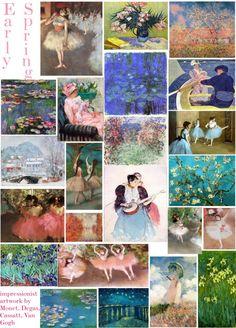 just the artwork (Monet, Cassatt, Degas, Van Gogh) based on David Zyla's color archetype Spring Drawing, Spring Painting, Bright Spring, Spring Green, Spring Meme, Spring Pictures, Spring Pics, David Zyla, Spring Scenery