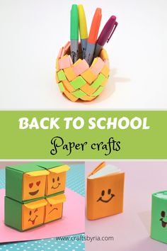 It's school time again! In today's post, I am going to share 4 fun and colourful back to school paper crafts for kids of different ages! This includes corner bookma Summer Crafts For Toddlers, Paper Crafts For Kids, Baby Crafts, Toddler Crafts, Preschool Crafts, Diy Crafts For Kids, Fun Crafts, Activities For Kids, Back To School Art