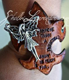 """Handmade Leather Cuff Says """"anymore than a heartbeat away is much too far""""  keith urban lyrics"""