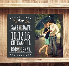 A vintage inspired save-the-date announcement highlighting you favorite photo. This listing includes professionally printed, 4.25 x 5.5 (A2)